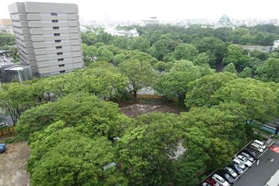 名城非常口となる旧公園(手前)。新緑の季節に半分が更地に。